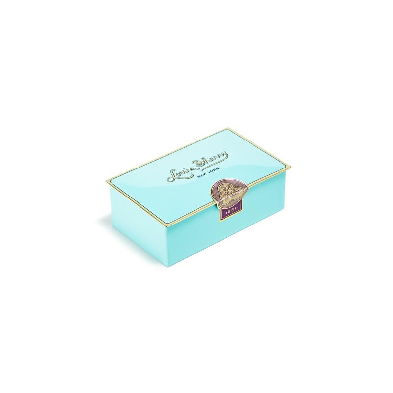 Artisan chocolates in teal box