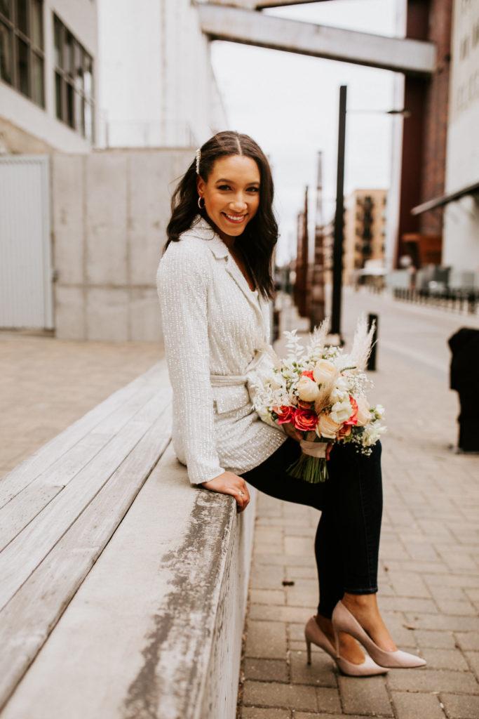 Bride at Stone Arch Bridge in Minneapolis