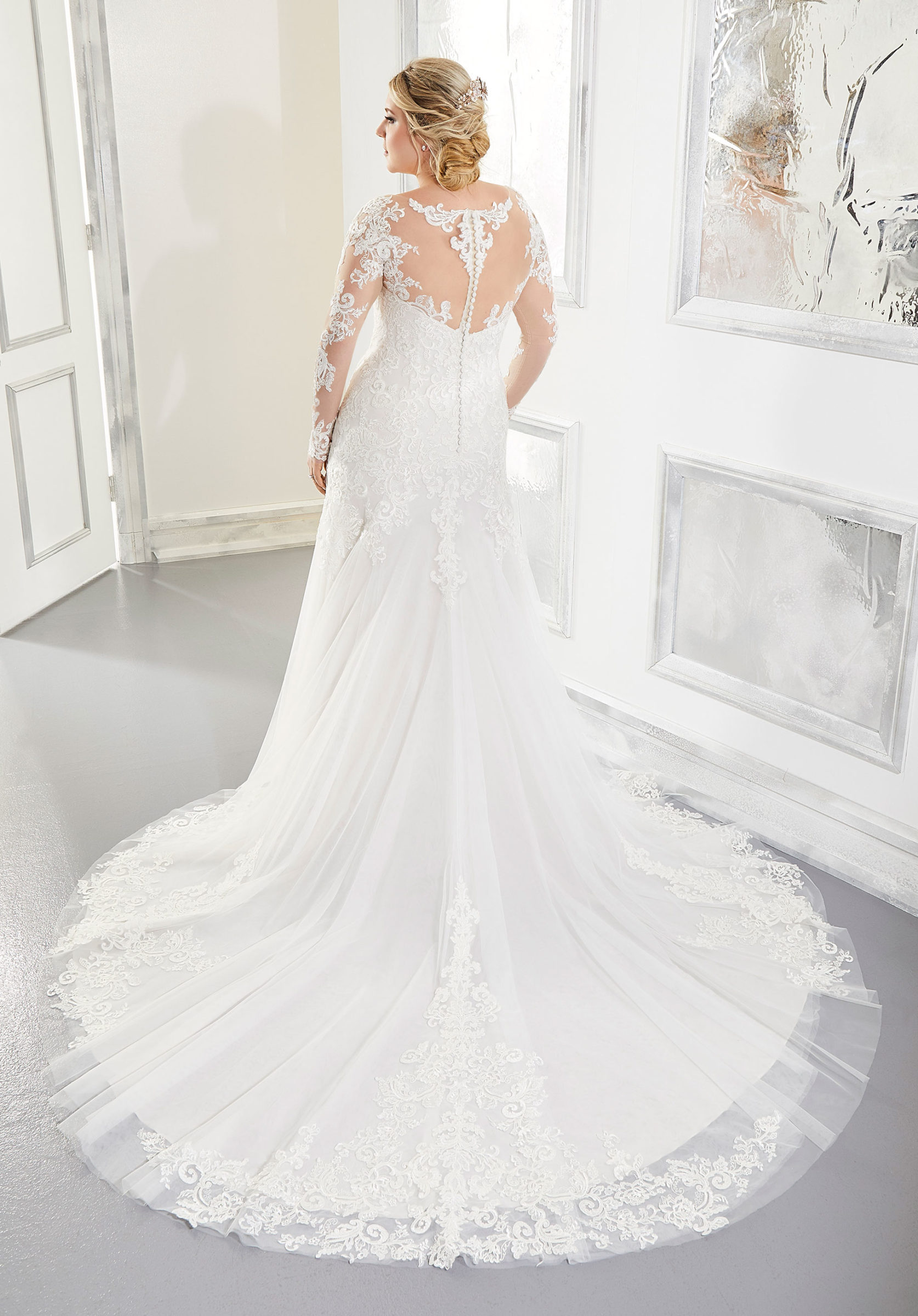 Long-sleeve naked lace bridal gown