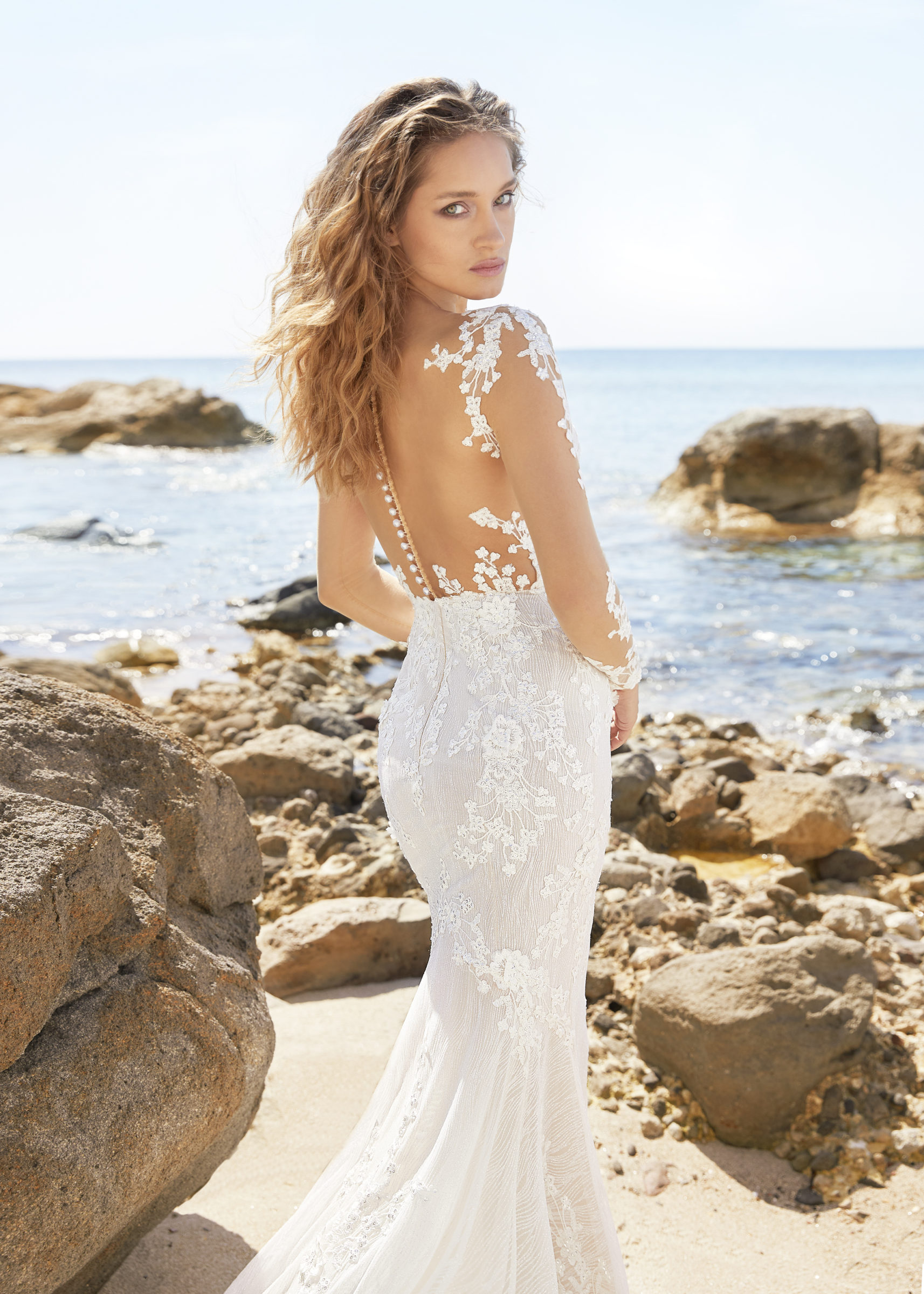 Naked lace gown with long sleeves