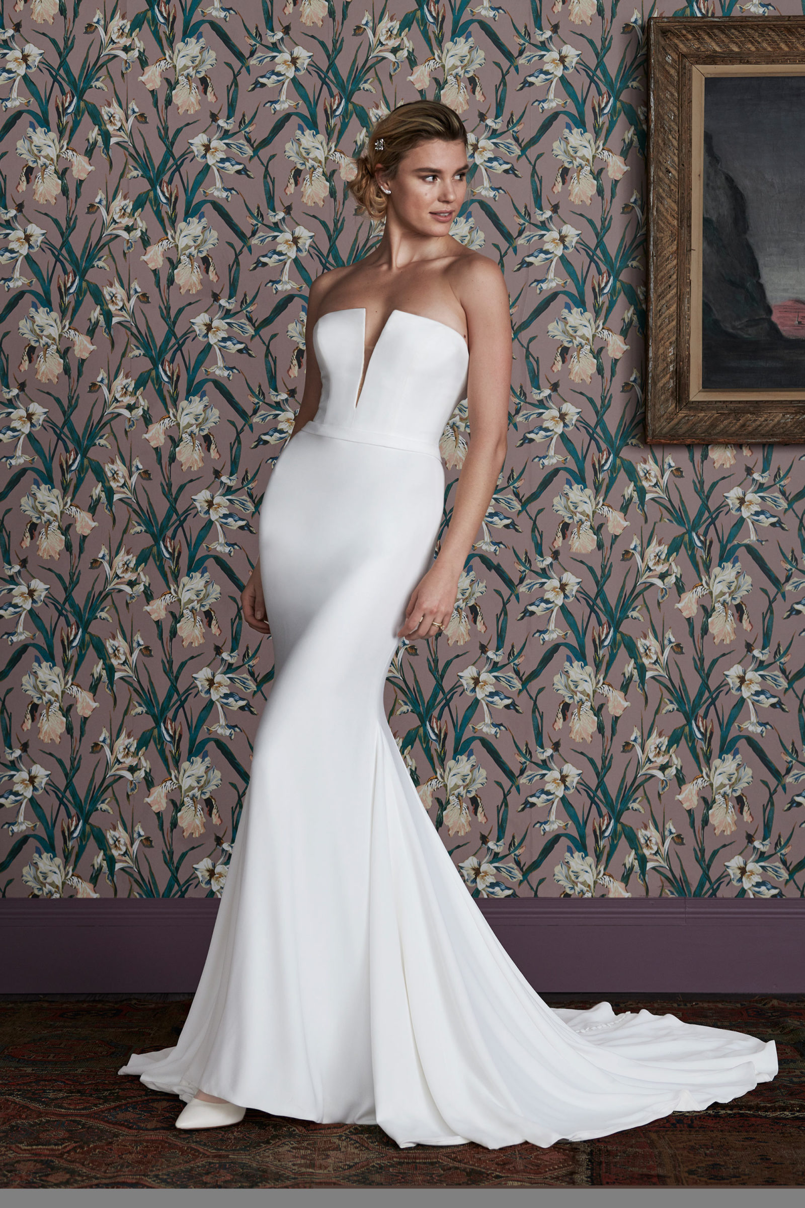 Crepe fit and flare gown with plunging neckline
