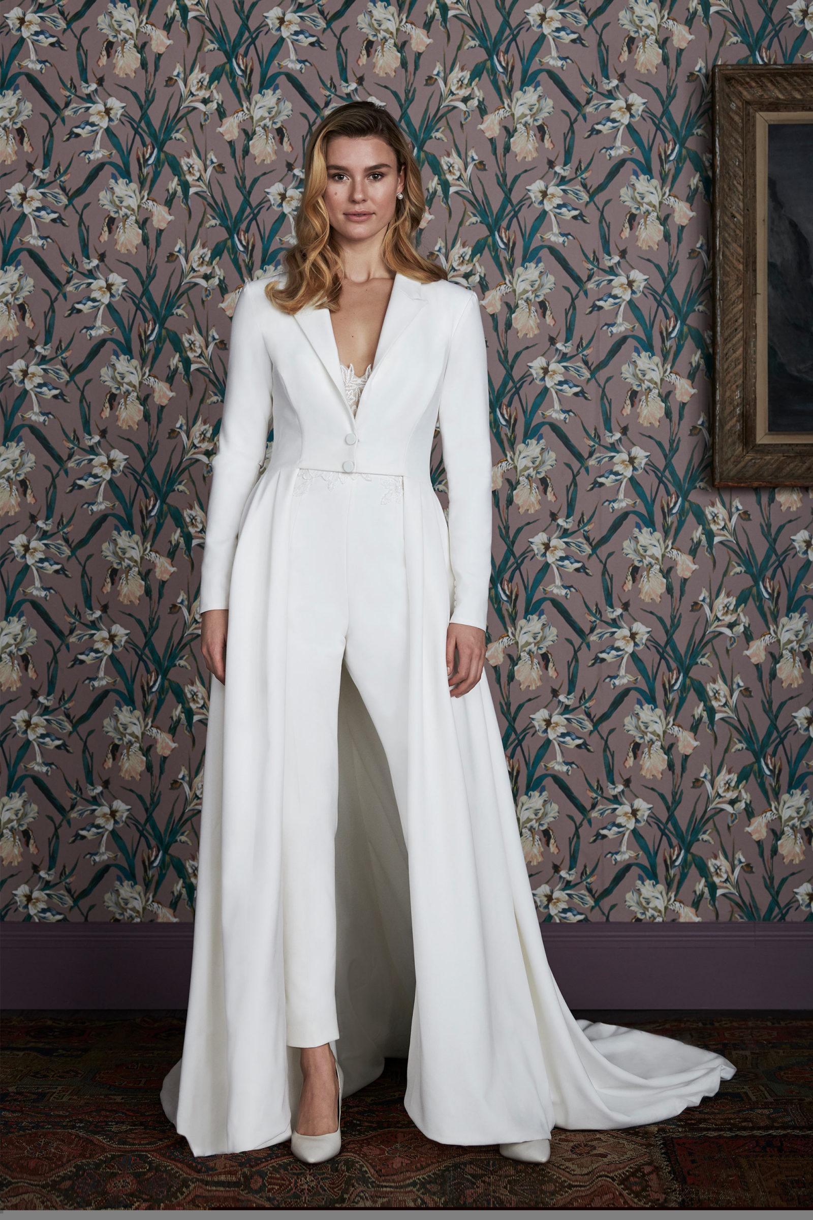 Different Bridal Fashion Week runway white jumpsuit