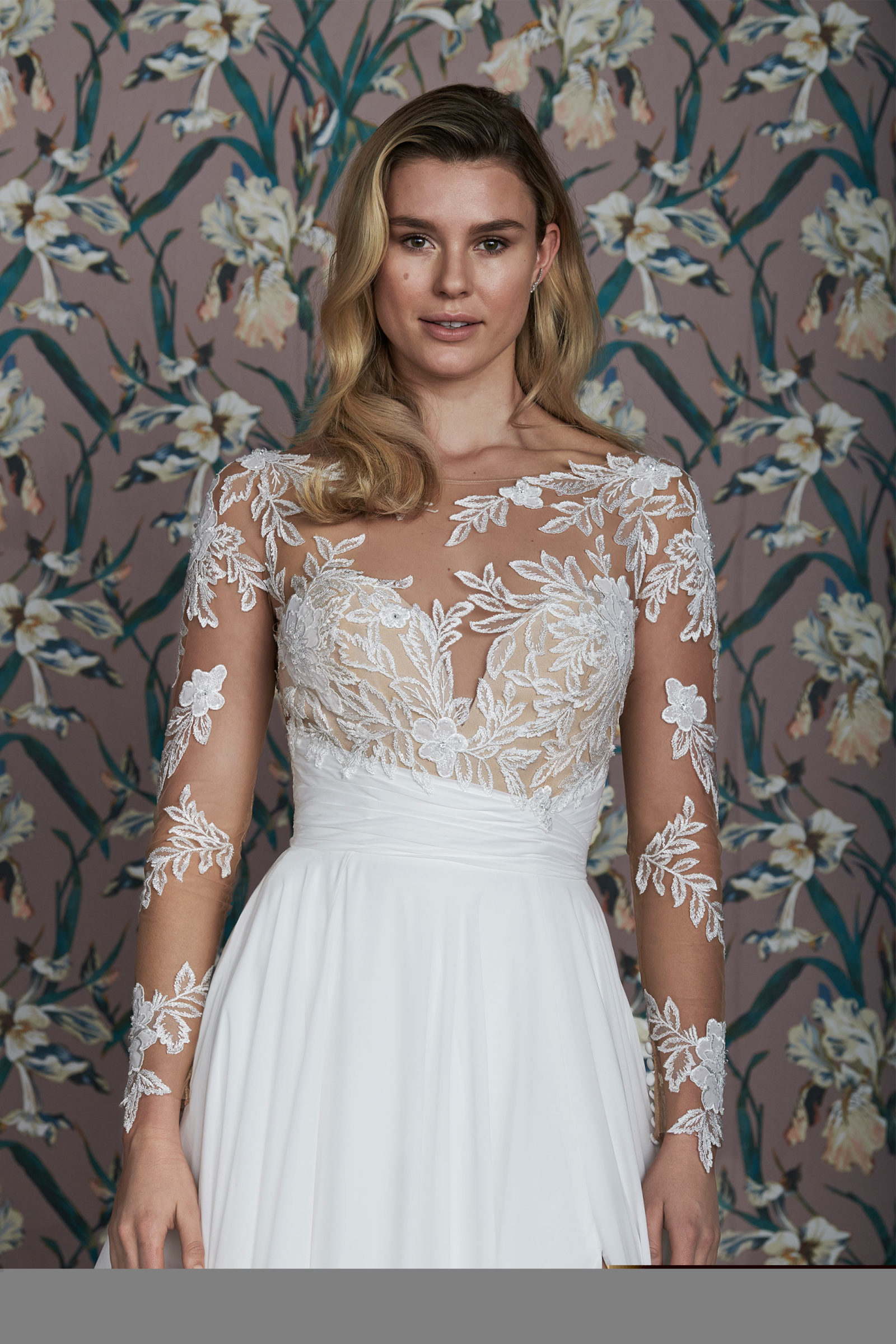 Long-sleeve naked lace bridal gown for a different bridal fashion week