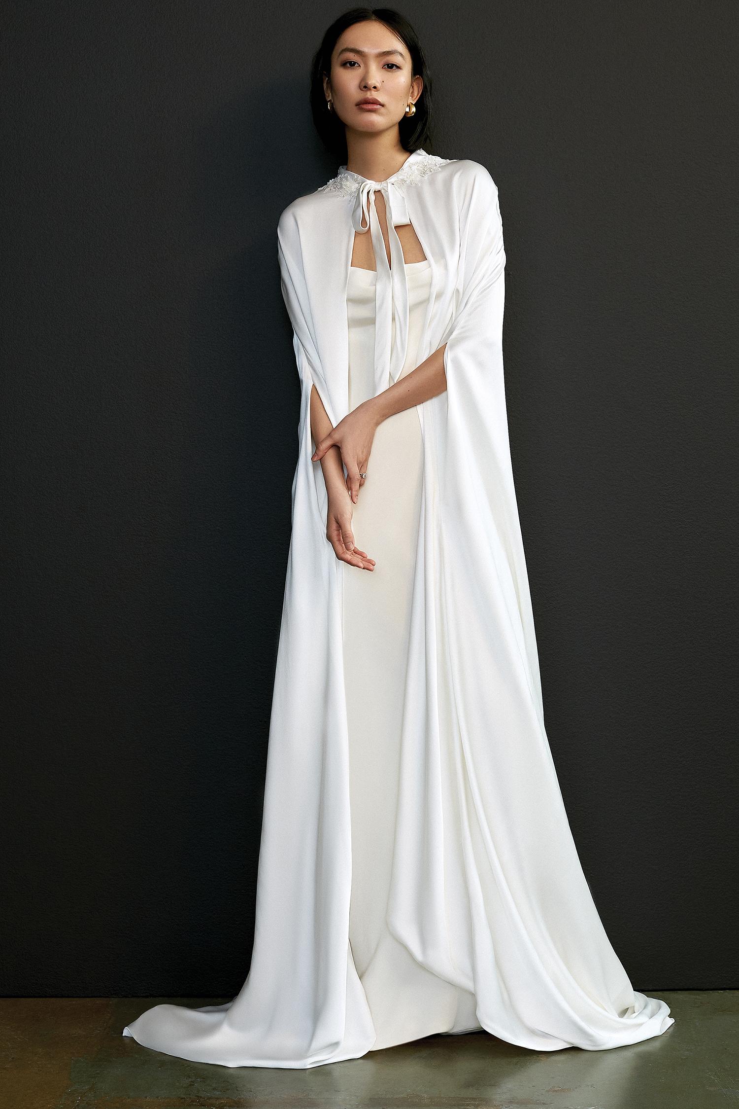 Floor-length white bridal cape