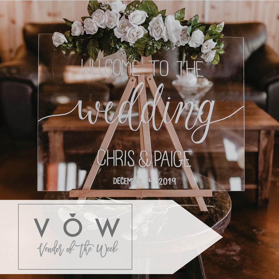 Glass calligraphy wedding signage
