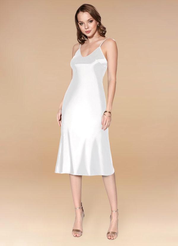 Silky midi length dress for micro wedding