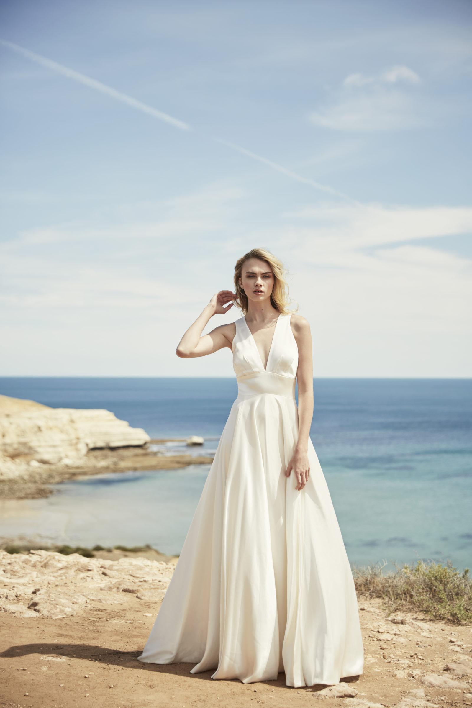 V-neck floor length bridal gown
