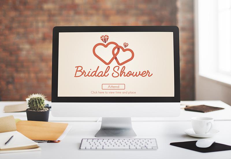 Virtual bridal shower on screen
