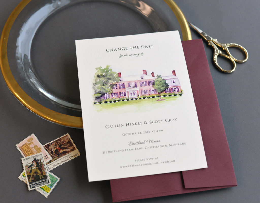 Custom watercolor stationery invitation