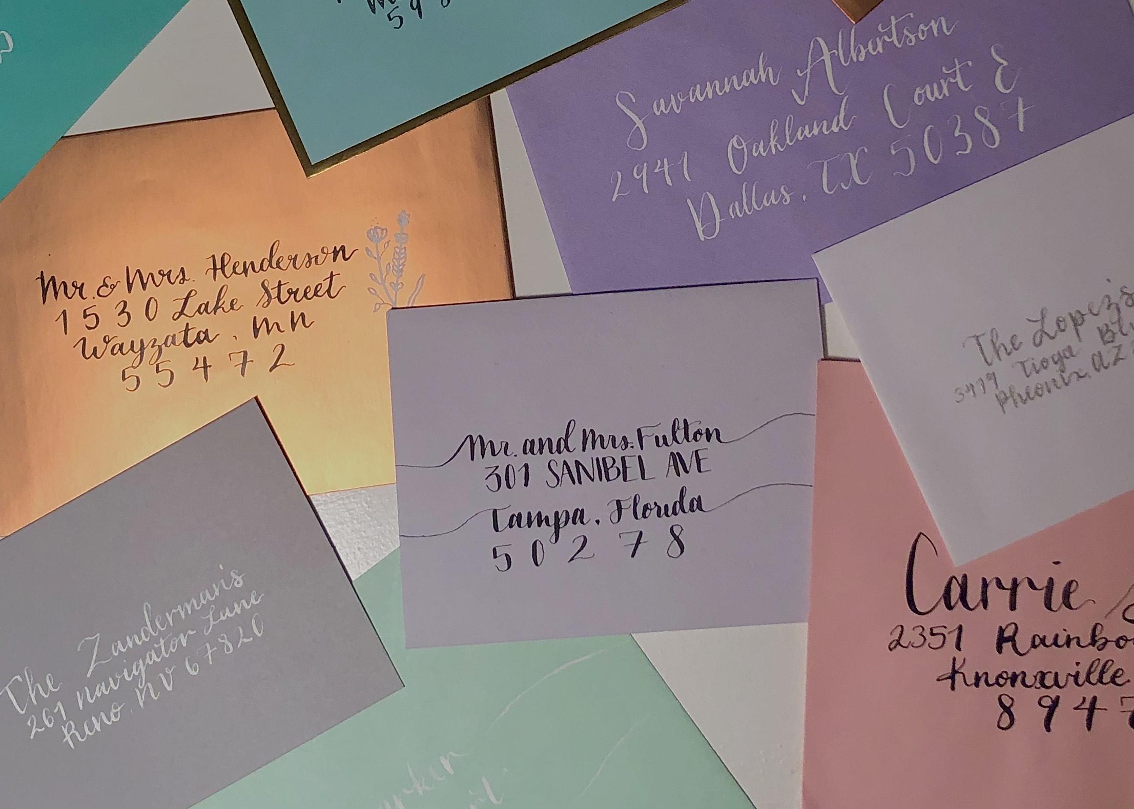 Hand-written calligraphy wedding invites by Mini Memo Co