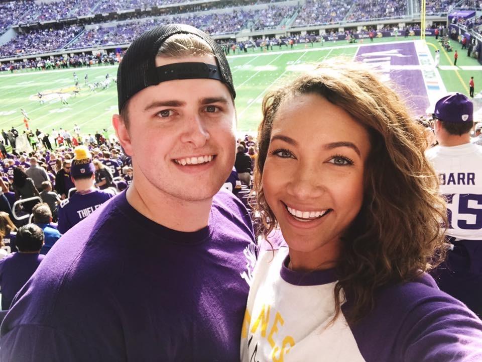 Minneapolis couple at Vikings game