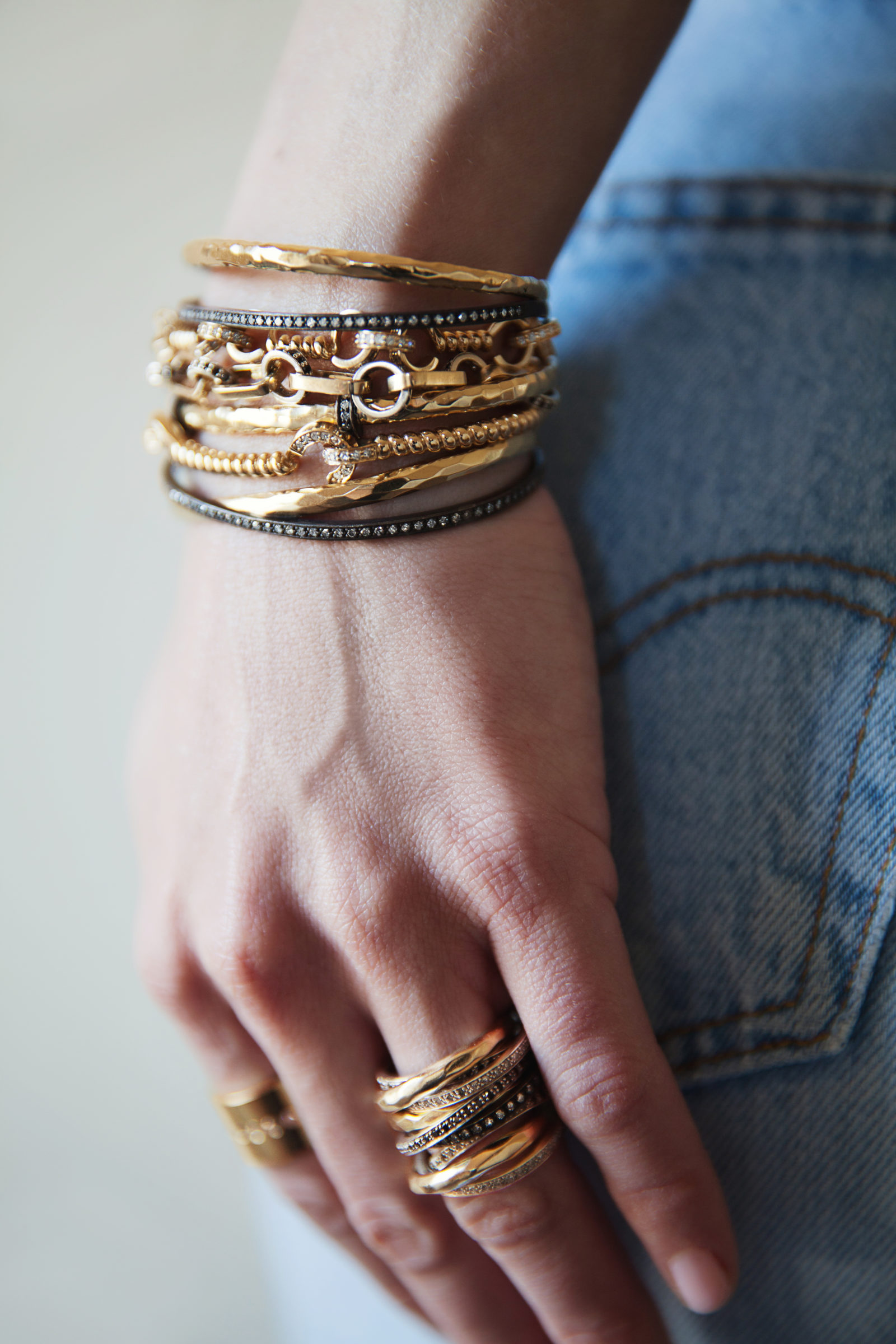 Stacked bracelets as mother's day gifts that give back