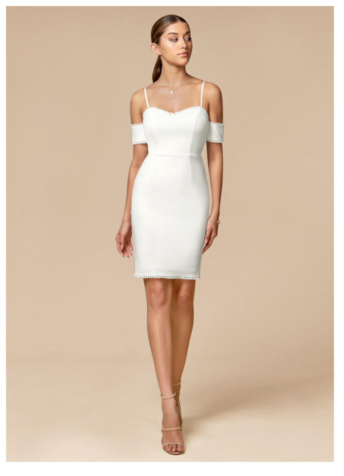 Fitted off the shoulder spaghetti strap outfits for a micro wedding
