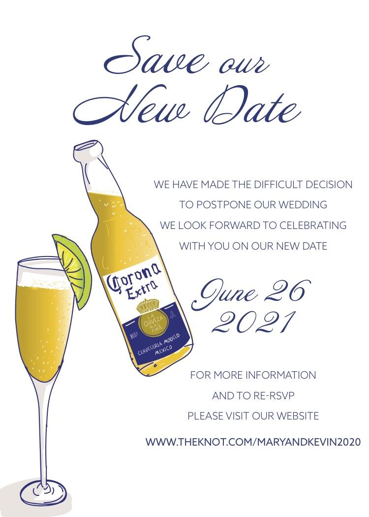 New date wedding invitation