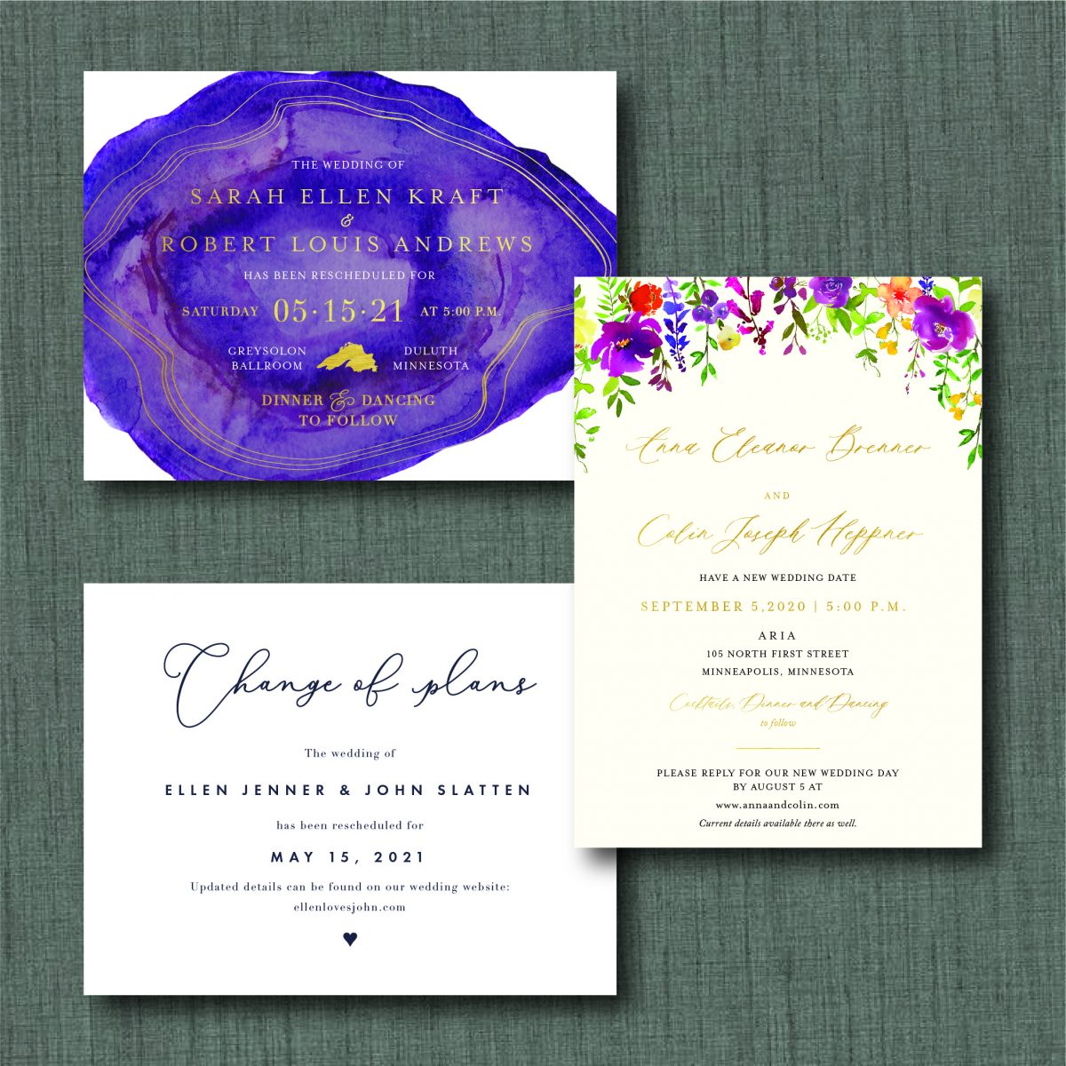 Wedding invite postpone the date