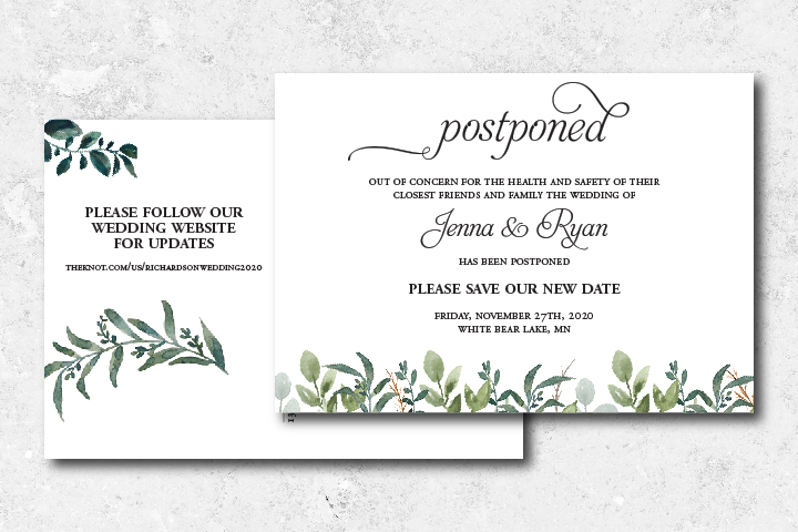 How to tell guests you've postponed the date stationery