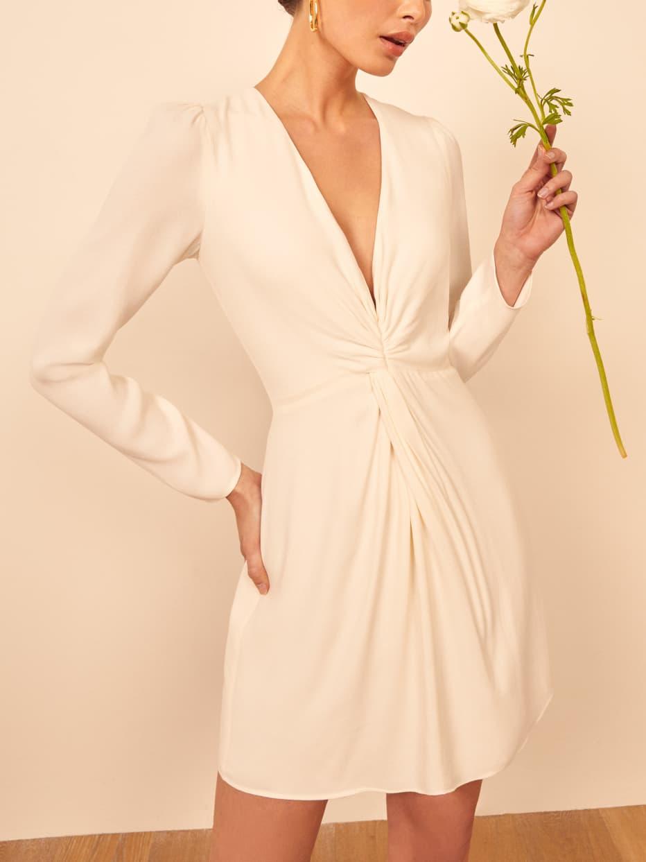 Long-sleeve micro wedding dress