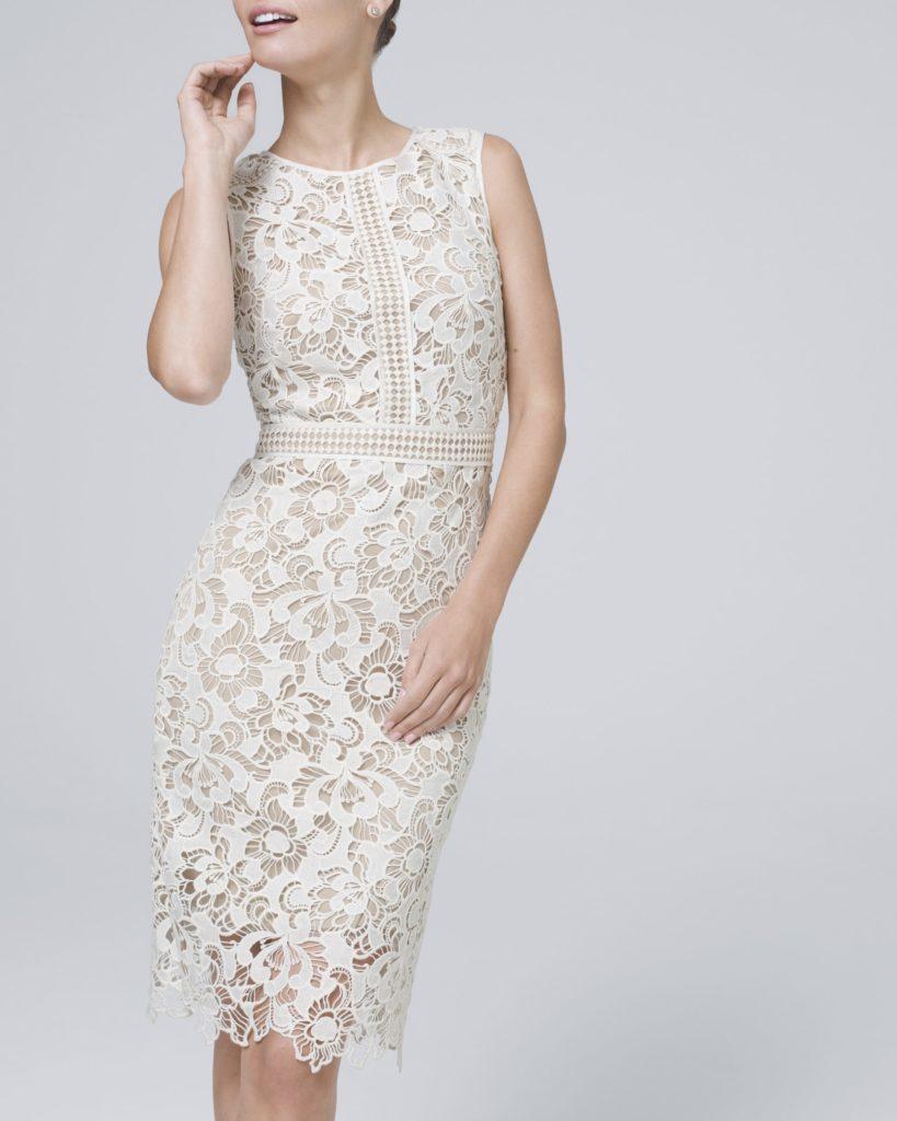White lace high-neck micro wedding dress