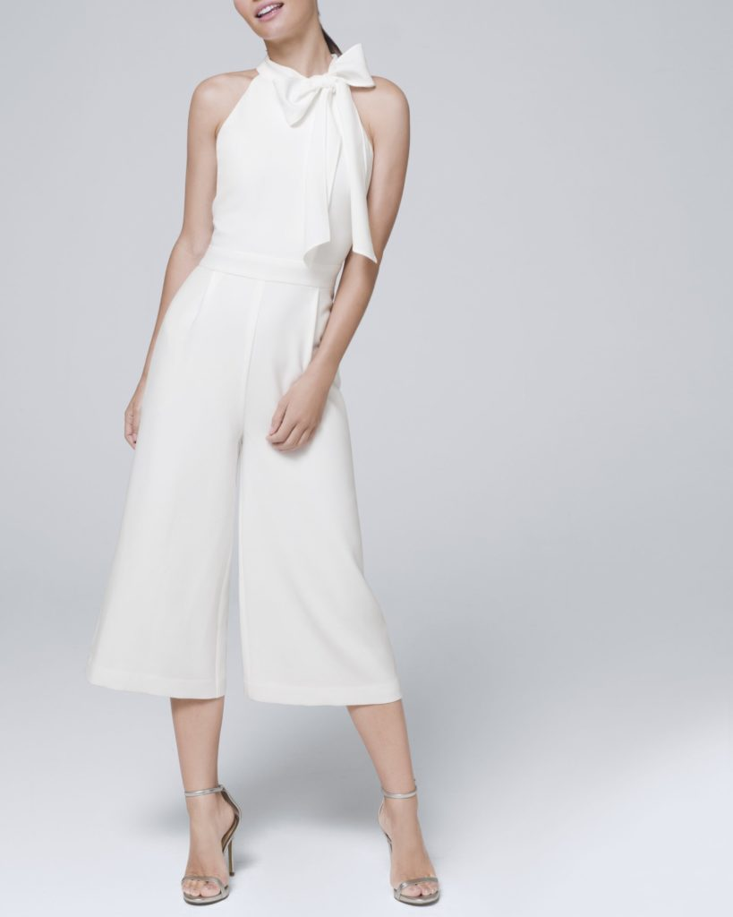 Midi white jumpsuit for micro wedding