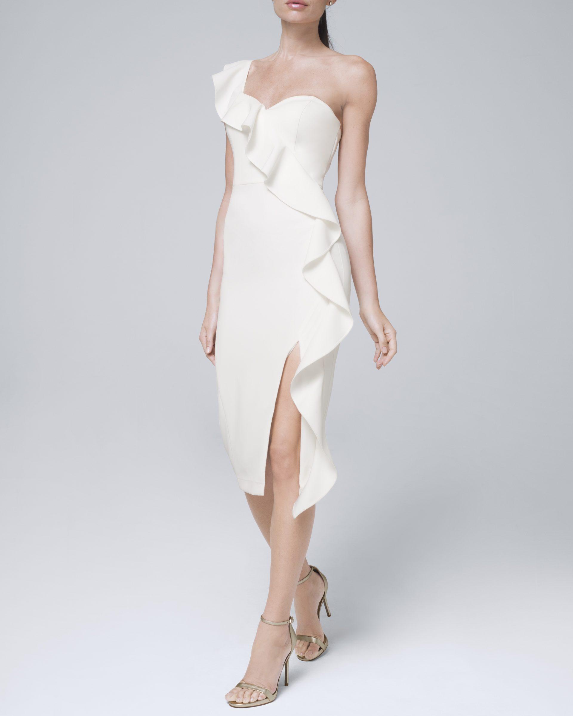 Ruffled midi dress for micro wedding