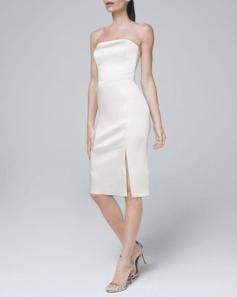 Charmeuse white strapless midi dress