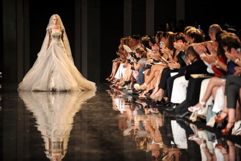 Couture wedding gown on runway