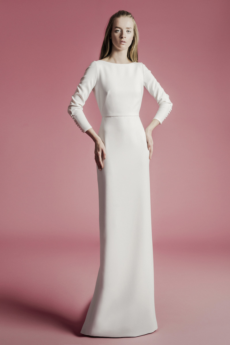 long-sleeve simple bridal gown