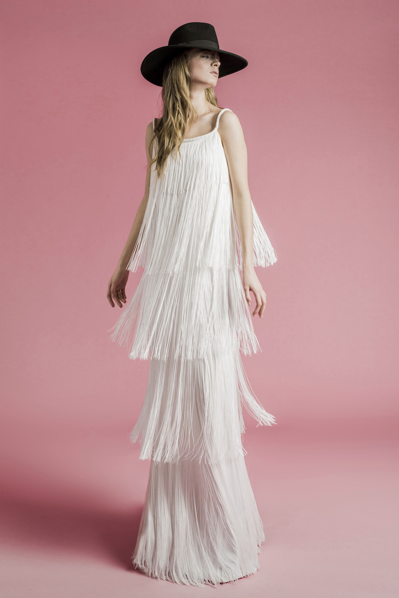 Bridal gown with fringe layers