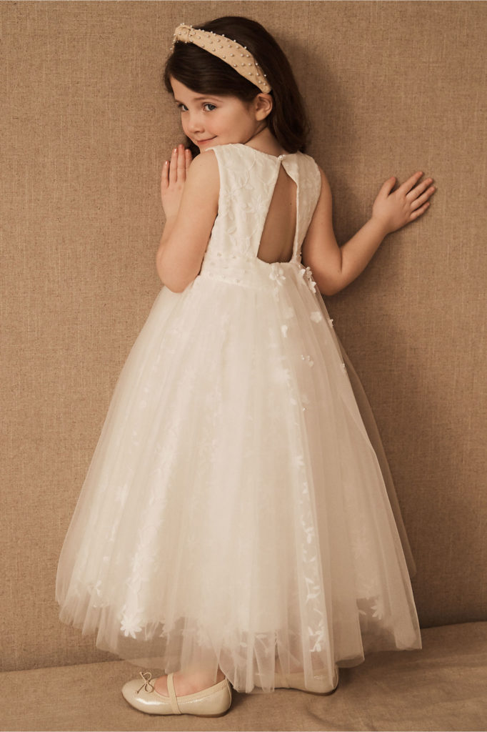 Flower girl in off white dress