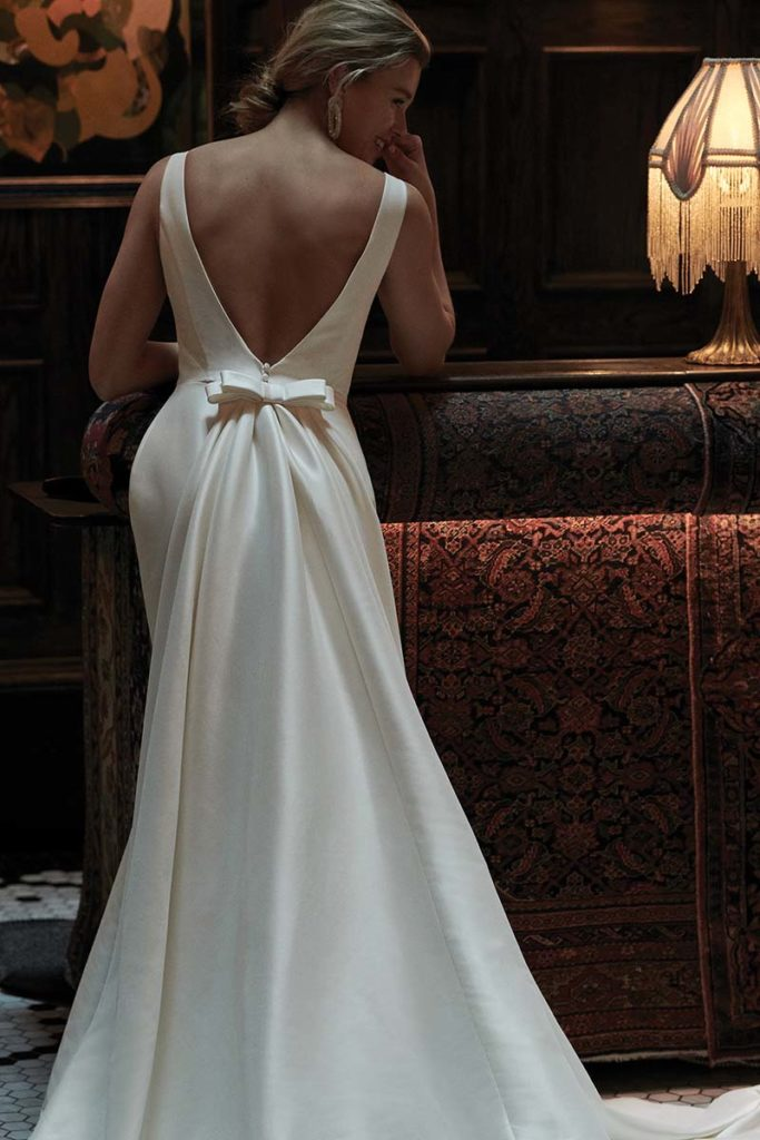 Bridal gown with bow in back by Justin Alexander