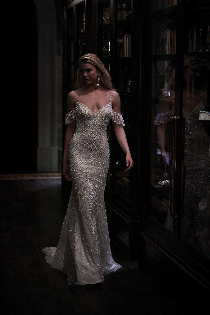 Off the shoulder bridal gown by Justin Alexander
