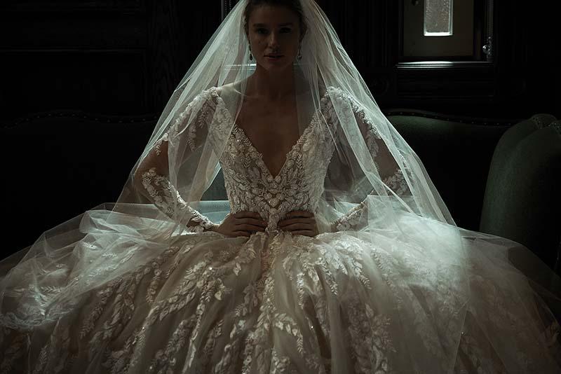 Dramatic beaded ballgown