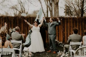 Bride and groom celebrate marriage ceremony