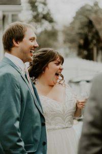Bride and groom celebrate wedding