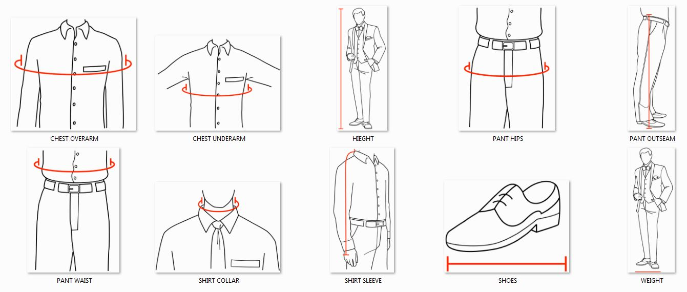 Graphic on how to measure for a tuxedo