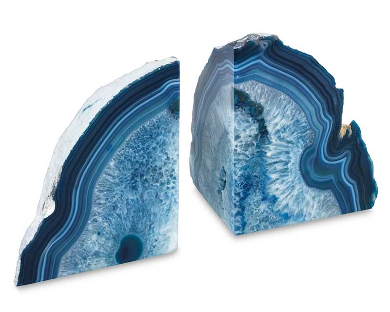 Set of blue agate bookends