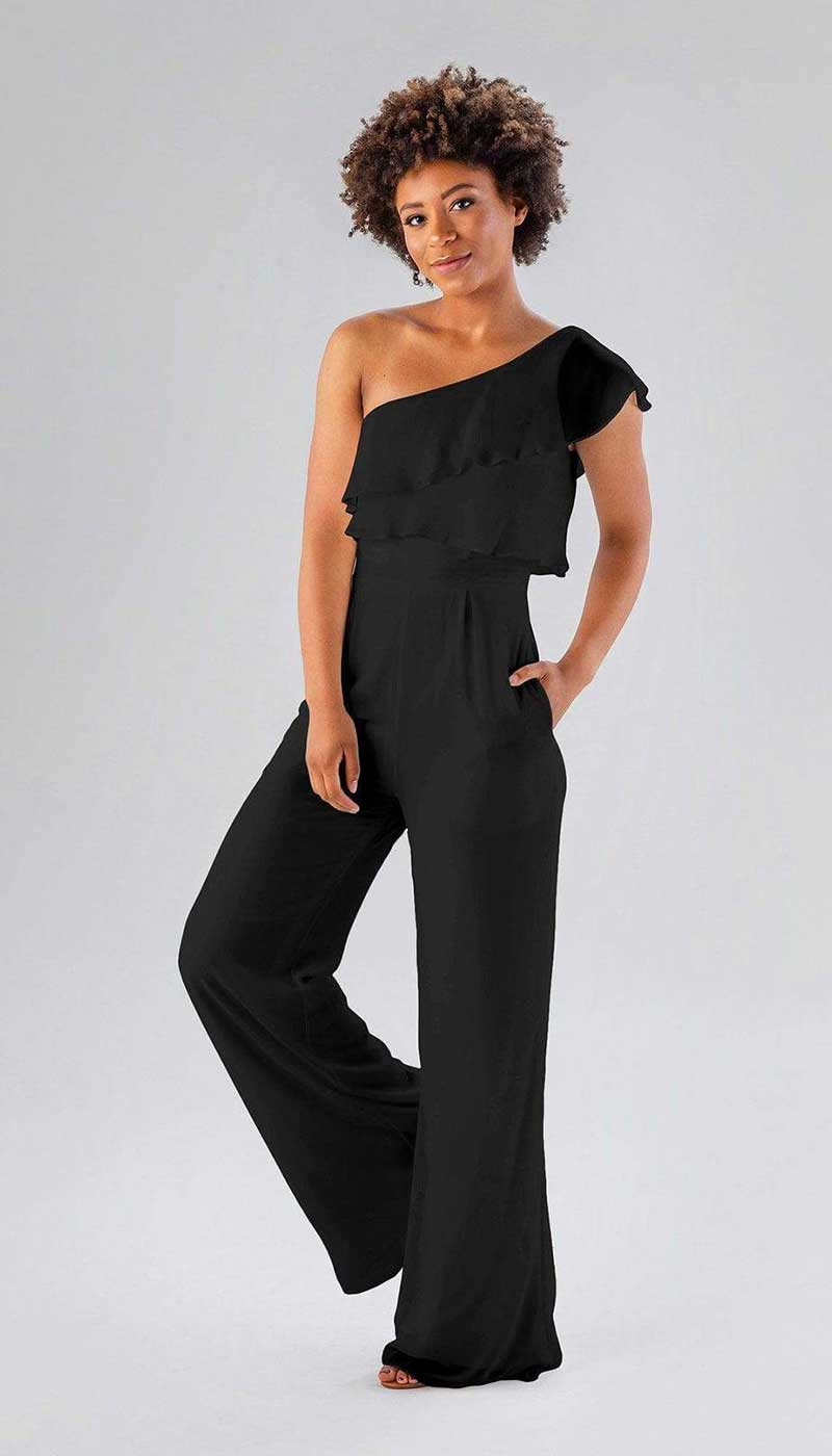 Woman in black bridesmaids jumpsuit by Kennedy Blue