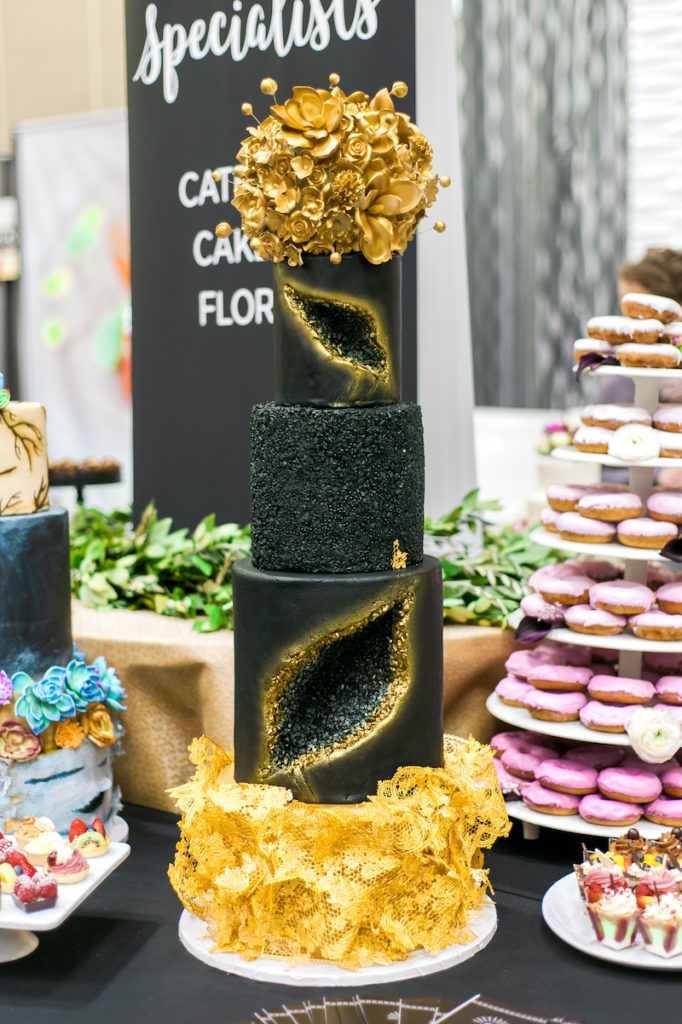 black and gold wedding geode cake