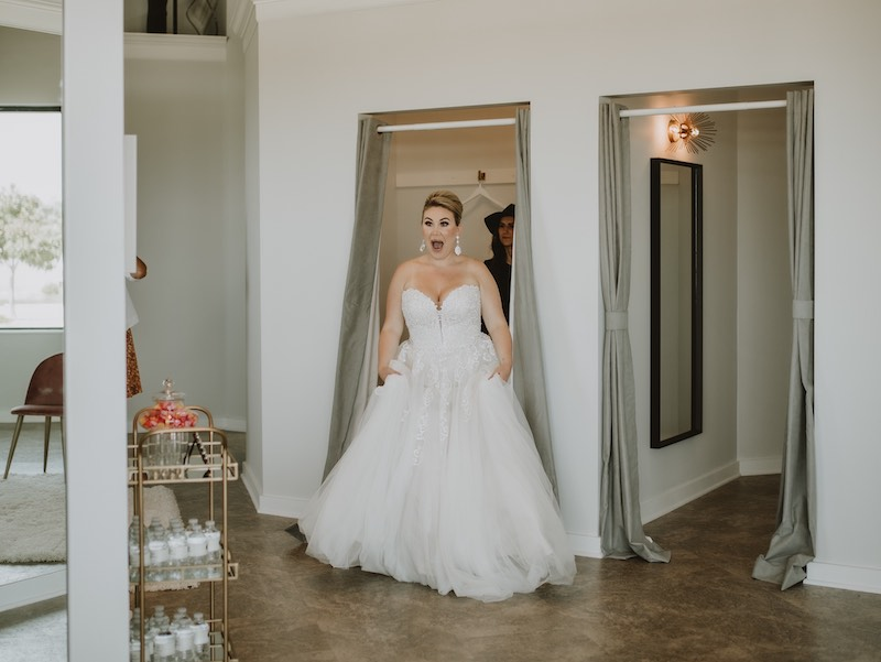 Bride finds her wedding gown at Luxe Bridal Couture