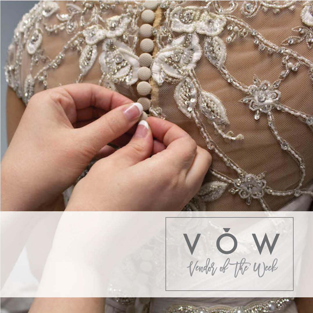 Seamstress altering bridal gown at Looking Sharp Alterations