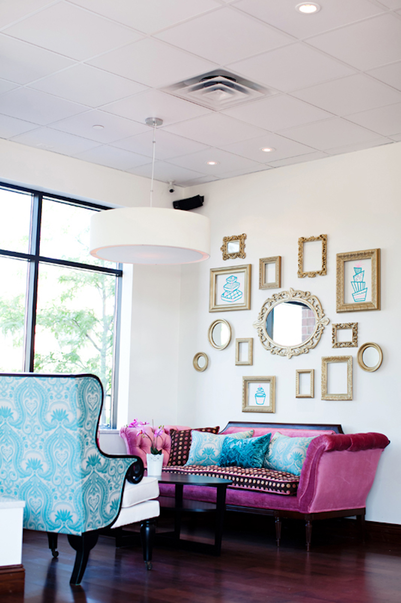 Nadia Cakes cupcake studio seating pink couch blue chair