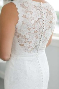 Back of bridal lace gown
