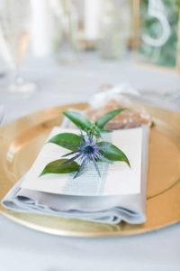 Green, white and gold table top