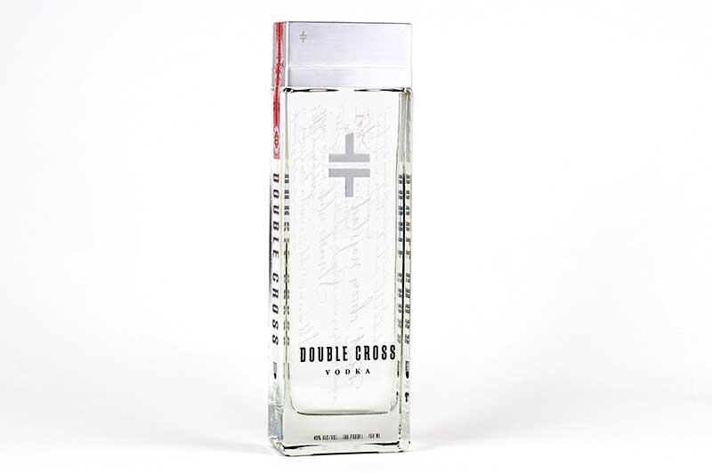Vodka in glass bottle