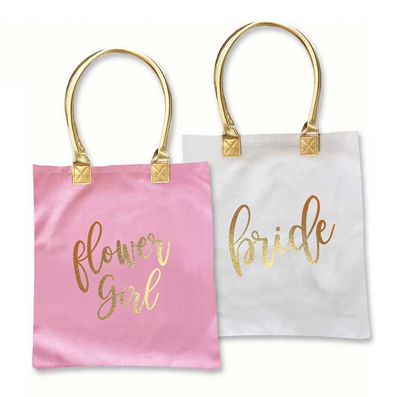 Pink flower girl and white bride totes