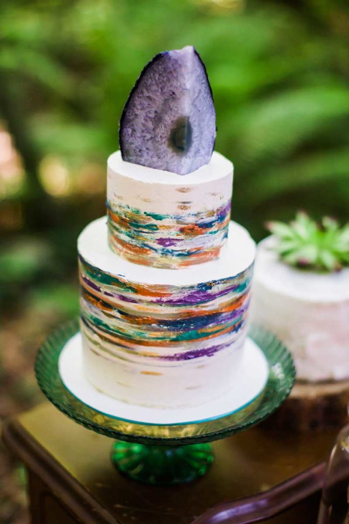 Rainbow wedding cake with geode top