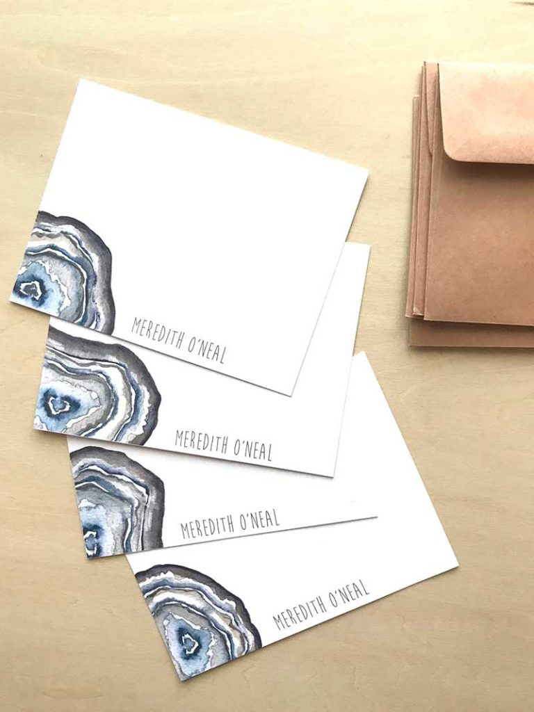 Set of watercolor geode stationery cards
