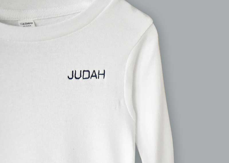 white pajama shirt with custom name stiched