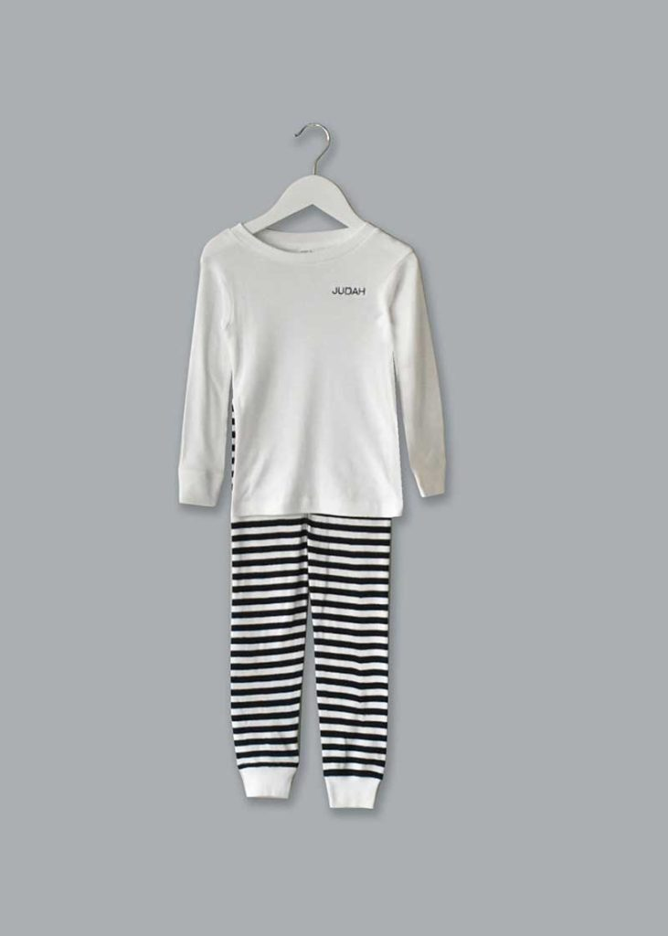 white custom pj top and striped bottoms
