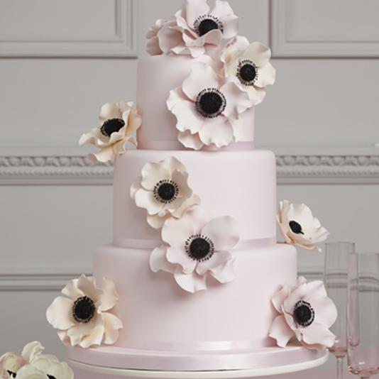 Light pink floral spring wedding cake